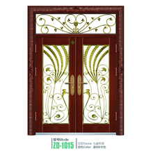 Wrought iron glass door panels