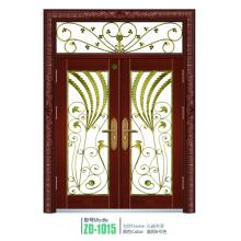 Wrought iron glass door panels