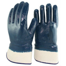 Luvas revestidas com nitrilo azul NMSAFETY para óleo industrial