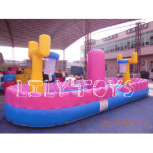 Safe Outdoor Inflatable Playground Slide , Fireproof Pvc Inflatable Basketball Court