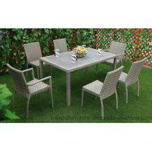 Nueva tabla de rectángulo de mimbre gris de Polywood de la tabla del patio de la estación y 6PCS que cena la silla Muebles de jardín al aire libre