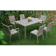 New Season Patio Rattan Wicker Grey Polywood Rectangle Table and 6PCS Dining Chair Outdoor Garden Furniture