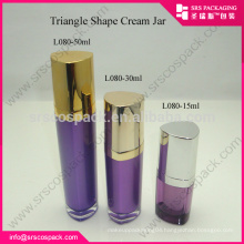 SRS alibaba China15ml 30ml 50ml colorful luxury triangle shape purple empty acrylic lotion bottle
