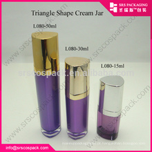SRS alibaba China15ml 30ml 50ml colorido luxo triângulo forma roxo vazio acrílico loção garrafa