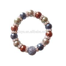 Moda Bling Bling Rhinestone pulsera barroca de la perla, pulsera con cuentas de perlas para mujer pulsera de fiesta joyería