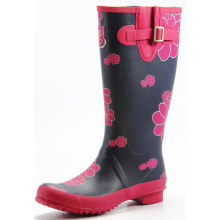 Big Flower Cotton Lining Rubber Rain Boots