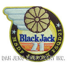 100% Black Jack Embroidered Patches