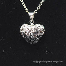 fashion Shamballa Necklace Wholesale Heart Shape New Arrival Gradient Color Crystal Clay Shamballa With Silver Chains Necklace