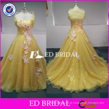 ED Bridal Custom Made Yellow Sequined Organza Imagem real Quinceanera Dresses