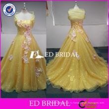 ЭД пользовательские невесты желтый с блестками органзы Реальное изображение пышное платье