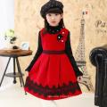 Hiver enfants noël partie vêtements en nylon rouge robe de soirée européen pinafore filles nouvel an chasuble robe en gros prix