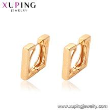 95357 venda Quente estilo China mulheres extravagantes jóias em forma de quadrado 18 k cor de ouro brincos de argola