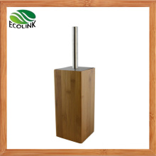 Bamboo Wooden Stainless Steel Bathroom Toilet Brush and Holder Set Free Standing