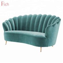 Nordic Style Shell Shaped Divano Due Posti Stainless Steel 2 Seater Sofa Green Upolstery Fabric Velvet Loveseat
