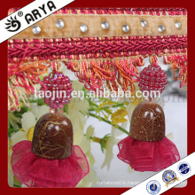 Stock Hot Sale Products for Home Decoration of Wooden Beads and Organza Tassel Fringe