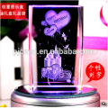 2016 Colorful LED Base 3D Laser Engraved Crystal Cube With Rose For Gifts