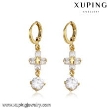 93751 xuping jewelry fashion jesus cross zircon luxury eardrops hoop earring