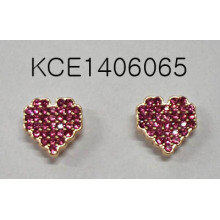 Heart-Shaped Rose Red Gem Earrings with Metal Fashion Jewelry