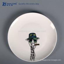 Desenho de Animais Pintura à Mão Custom Made Dinner Plates, Bone China Hotel Talheres