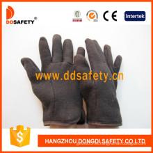 Brown jersey rojo paño grueso y suave guante de seguridad (dcd109)