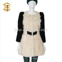 Vente en gros au détail de l'usine Manteau authentique en mouton d'agneau en vraie manteau de fourrure