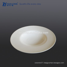 Bone china High brightness White Big Round Fine Ceramic soup dinner plate