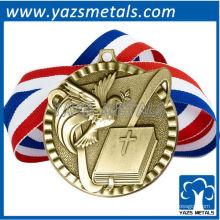personalize medalhas de metal, medalha de velhice de religião de alta qualidade personalizada com fita