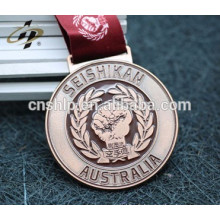 artisanat personnalisé émail or métal sport taekwondo médaille ruban cintre
