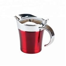 Double Wall Stainless Steel Gravy Boat With Spout&Lid