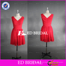 ED Bridal Real Photo V Neck A Line Chiffon Short Red Bridesmaid Dress