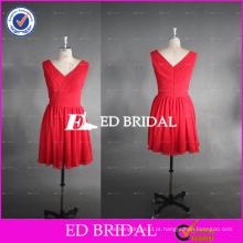 ED Bridal Real Photo V Neck A Line Chiffon Vestido vermelho curto da dama de honra
