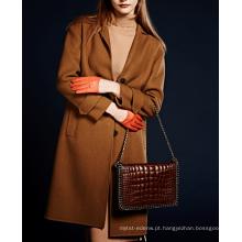 17PKCSC022 mulheres camada dupla 100% casaco de lã de caxemira
