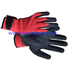 10 Gauge Polyester Liner, Nitrile Coating, Sandy Finish Safety Gloves