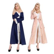 Vente chaude Moyen-Orient prime polyester femmes robe cousu dentelle fashion abaya
