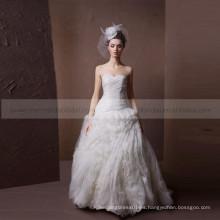 Línea de corazón noble plisada y hermosa forma de volantes ORG vestido de boda Croset Back