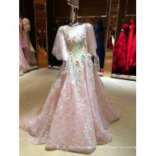 Empfindliches Qualitäts-Rosa-wirkliches Beispiel-Organza-Hochzeits-Kleid