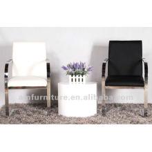 Modern elegante PU e cadeira de jantar de metal