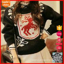 Rotwild-Muster-Frauen-Pullover Schwarzes hässliches Weihnachtsstrickjacke-Entwurf