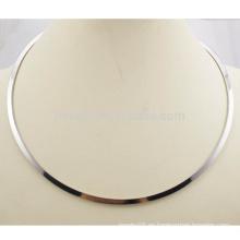 Venta al por mayor de acero inoxidable de acero inoxidable collar de collar de plata simple abierto
