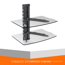 2 Tier Shelf DVD Stand -Aluminum and Tempered Glass DVD Rack