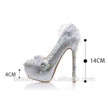 Chaussures de mariage marron à la bouche superficielle avec une boite de nuit d'argent avec une boite de nuit d'argent WS041