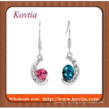 FINE Schmuck Silber überzogener Halbmond mit zwei Farbe Kristall Modeschmuck baumeln Ohrring