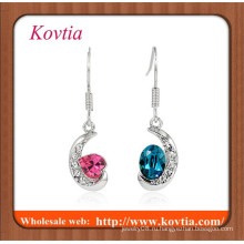 FINE ювелирные серебро покрытием полумесяца с двумя цветными кристаллами моды ювелирные изделия болтаться серьги