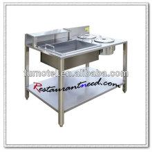 K359 mesa de cocina de embalaje independiente en polvo de acero inoxidable
