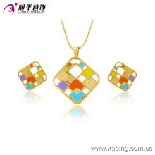 Мода нет образца камня красочный площади 14k позолоченные сплава комплект ювелирных изделий -63770