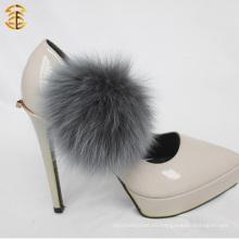 Peluche de piel de Fox de alta calidad Pompom Fox accesorio con un clip para zapatos y prendas de vestir