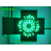 Temps plein / température / texte / humidité couleur simple Croix de pharmacie LED