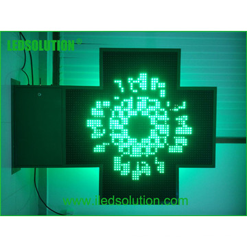 Outdoor Time/Temperature/Text/Humidity Single Color Pharmacy Cross LED