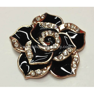Flower Rhinestone Shoe Clips with Black Glaze Filled