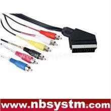 Connecteur Scart mâle à 6x connecteur RCA câble mâle